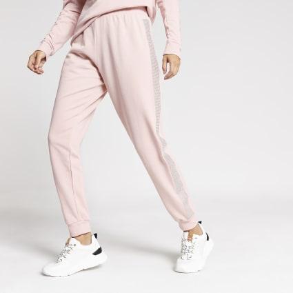 Pink diamante embellished side joggers