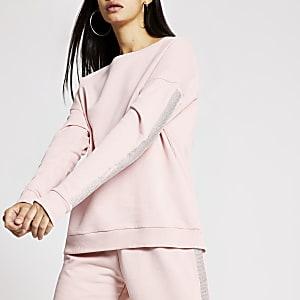 Langärmeliges Sweatshirt in Rosa mit strassverzierten Seiten