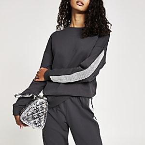 Langärmeliges Sweatshirt in Grau mit strassverzierten Seiten