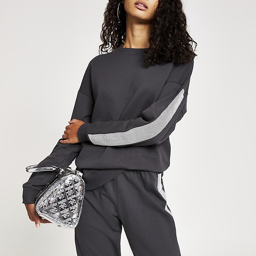 Grijs sweatshirt met lange mouwen met siersteentjes