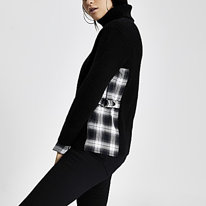 Black check D-ring side knitted jumper
