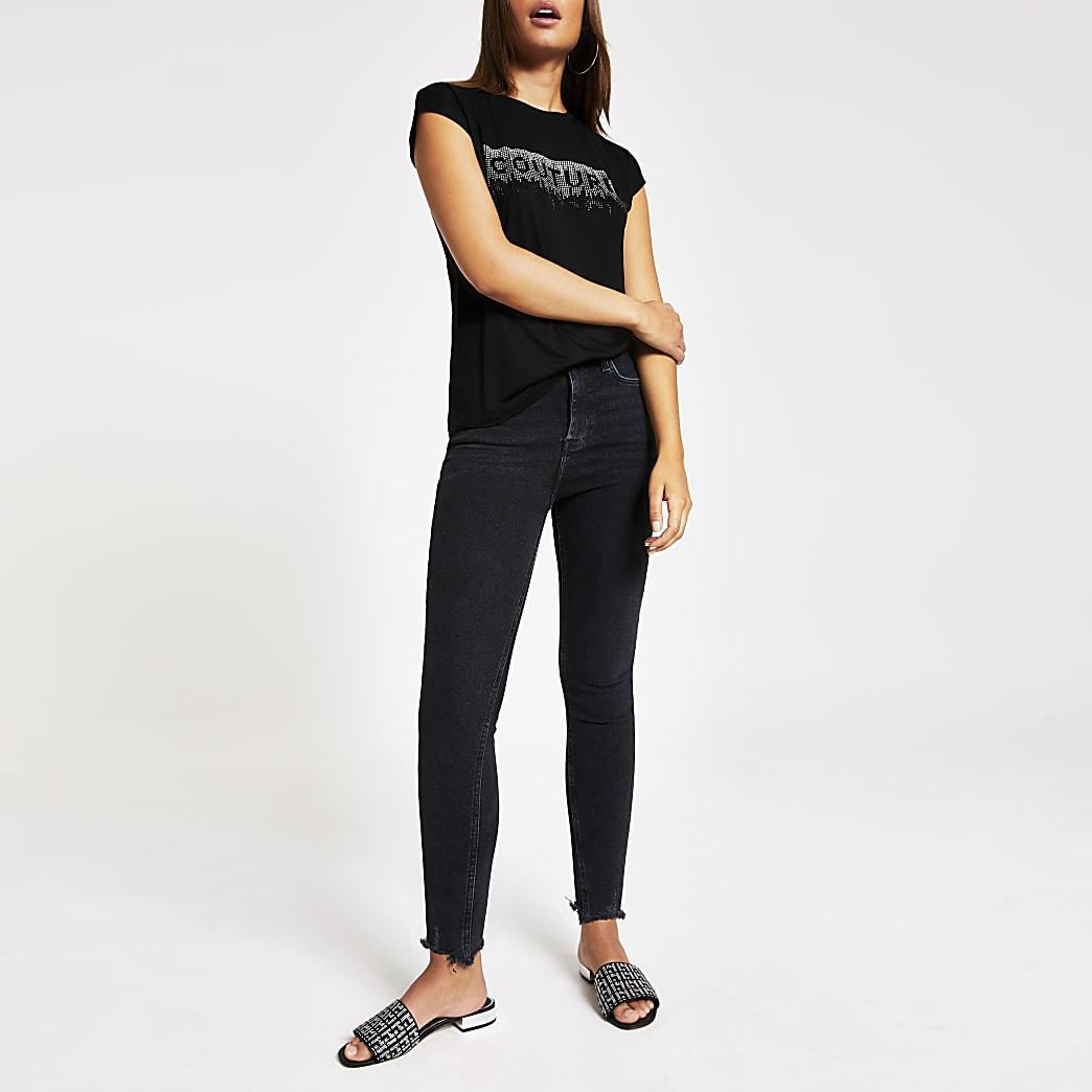 Black 'Couture' diamante frill trim T-shirt