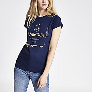 Marineblauw T-shirt met folieprint