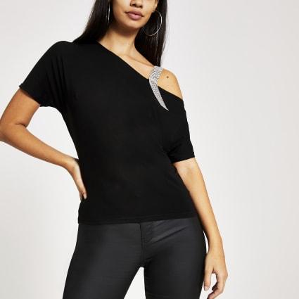 Black one shoulder diamante strap top