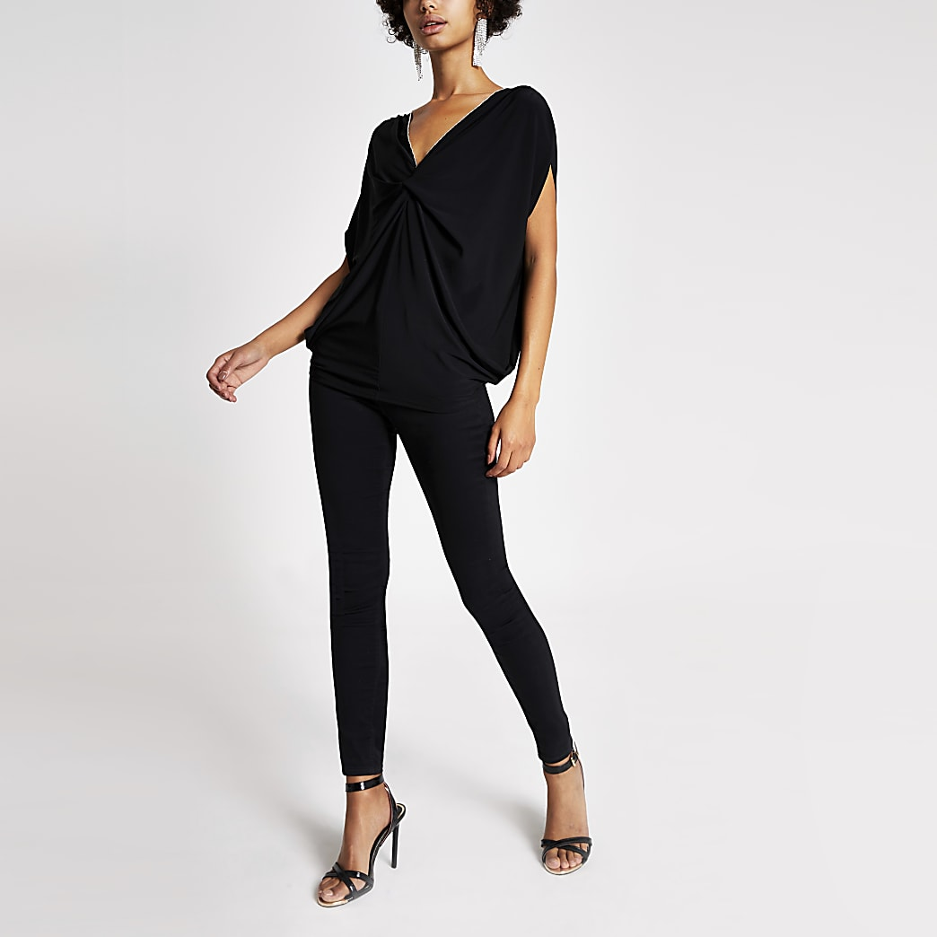 Black twist front embellished top