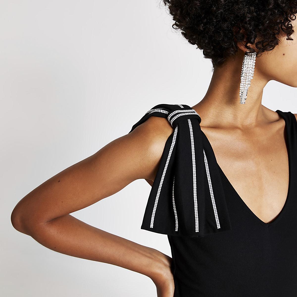 Black diamante bow sleeveless bodysuit