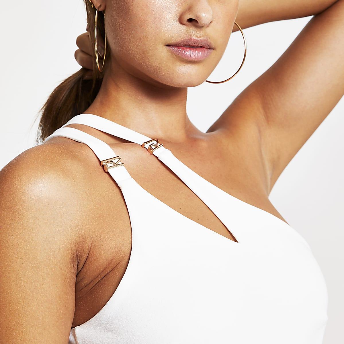 413b884adf0 White one sleeve asymmetric split bodysuit