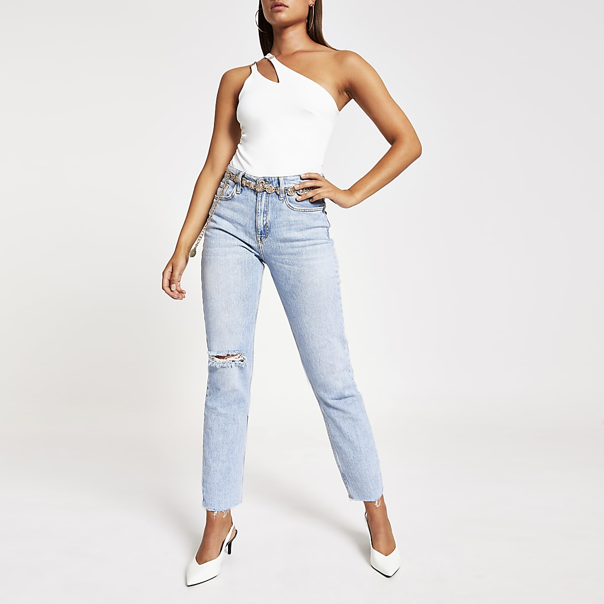 White one sleeve asymmetric split bodysuit