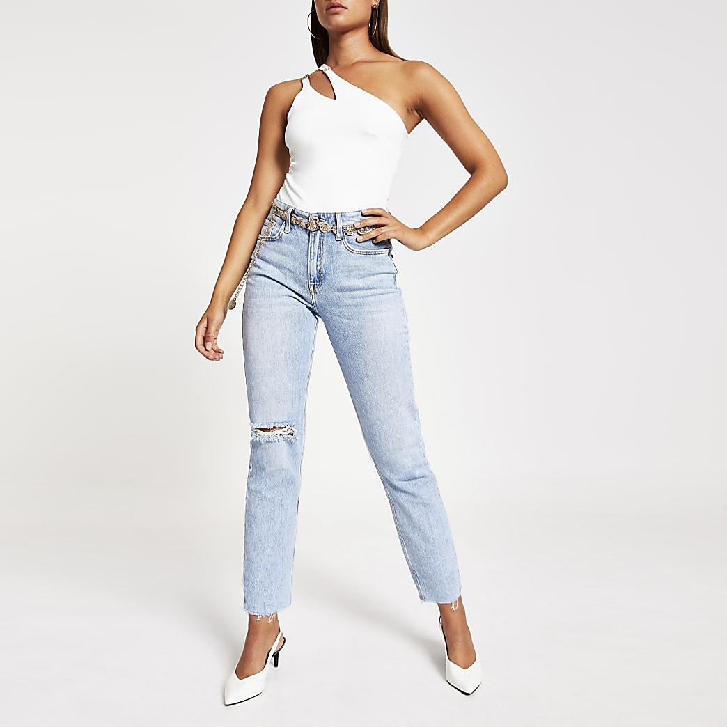White one sleeve asymmetric split bodysuit