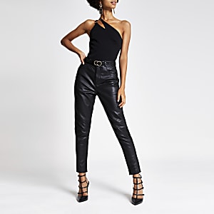 Black one sleeve asymmetric split bodysuit