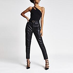 Zwarte bodysuit met asymmetrische split en één mouw