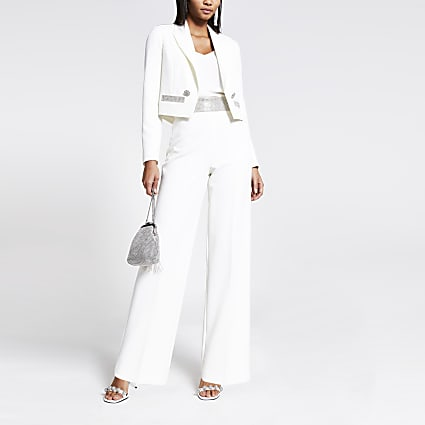 White diamante high waist wide leg trousers