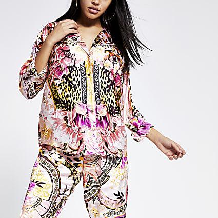 Pink printed loose fit satin pyjama shirt