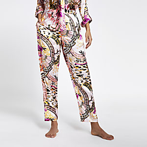 Pink gemusterte Pyjamahose aus Satin in Loose Fit