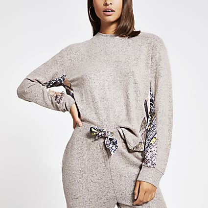 Beige scarf print long sleeve pyjama top