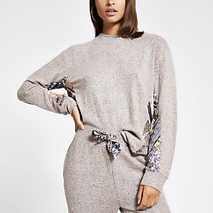 Beige scarf print long sleeve pyjama top