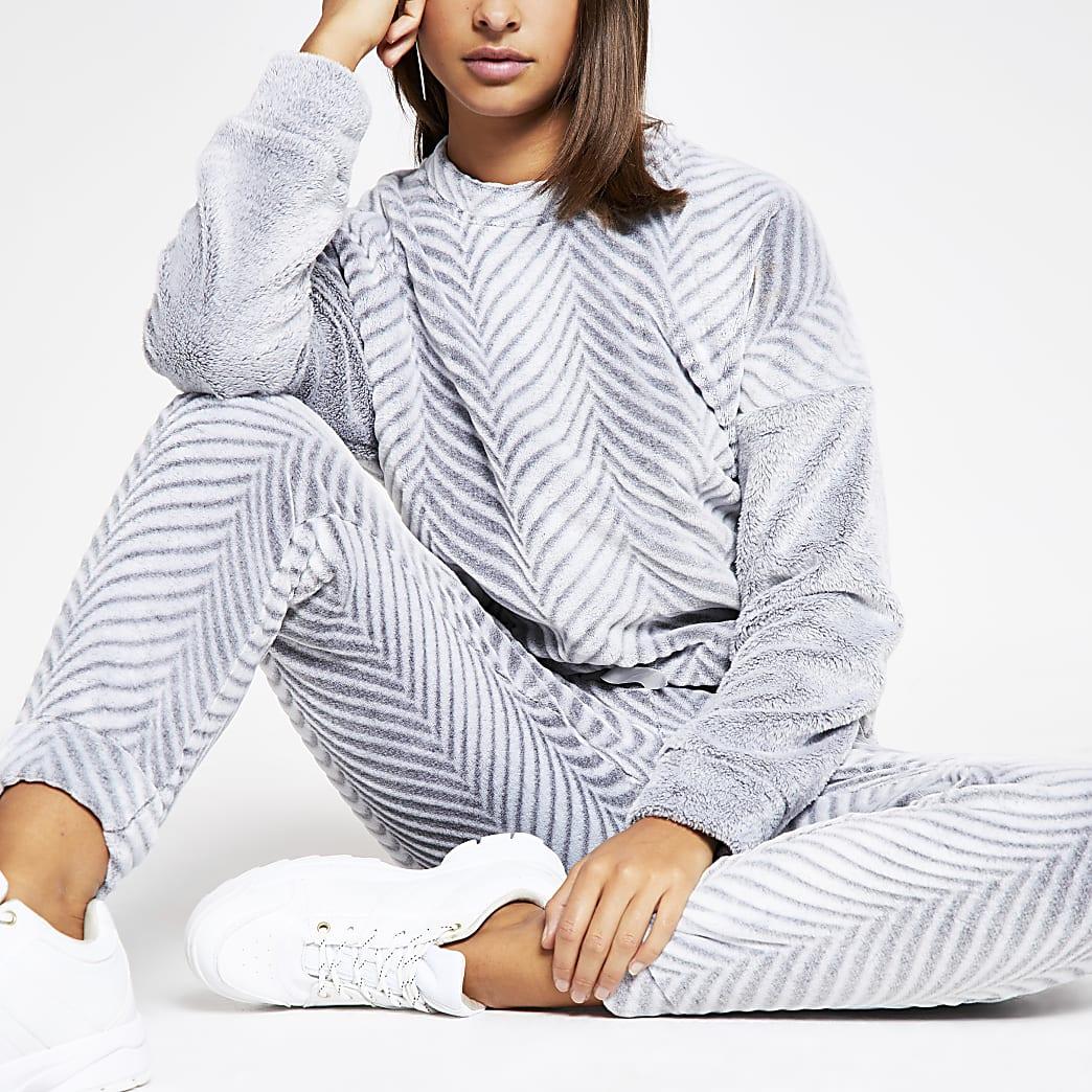 Haut de pyjama en velours grisà chevrons
