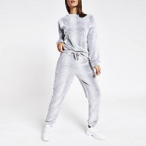 Graue Pyjama-Hose aus Velours mit Fischgrätmuster