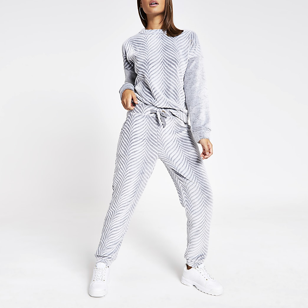 Grey herringbone velour pyjama trousers