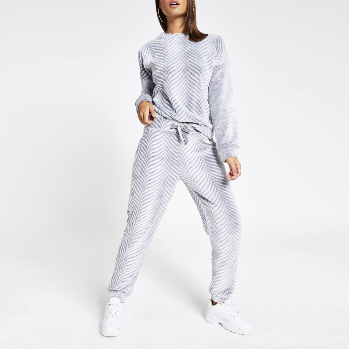 Grey herringbone velour pyjama trousers