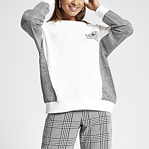 Cream check print sleeve sweatshirt