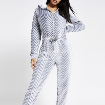 Grey herringbone velour faux fur onesie