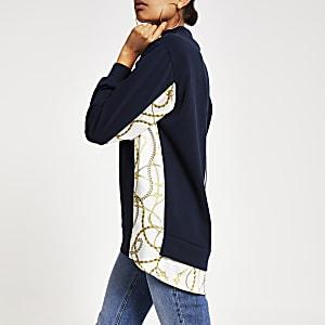 Marineblauw hoogsluitend sweatshirt met print op de mouwen