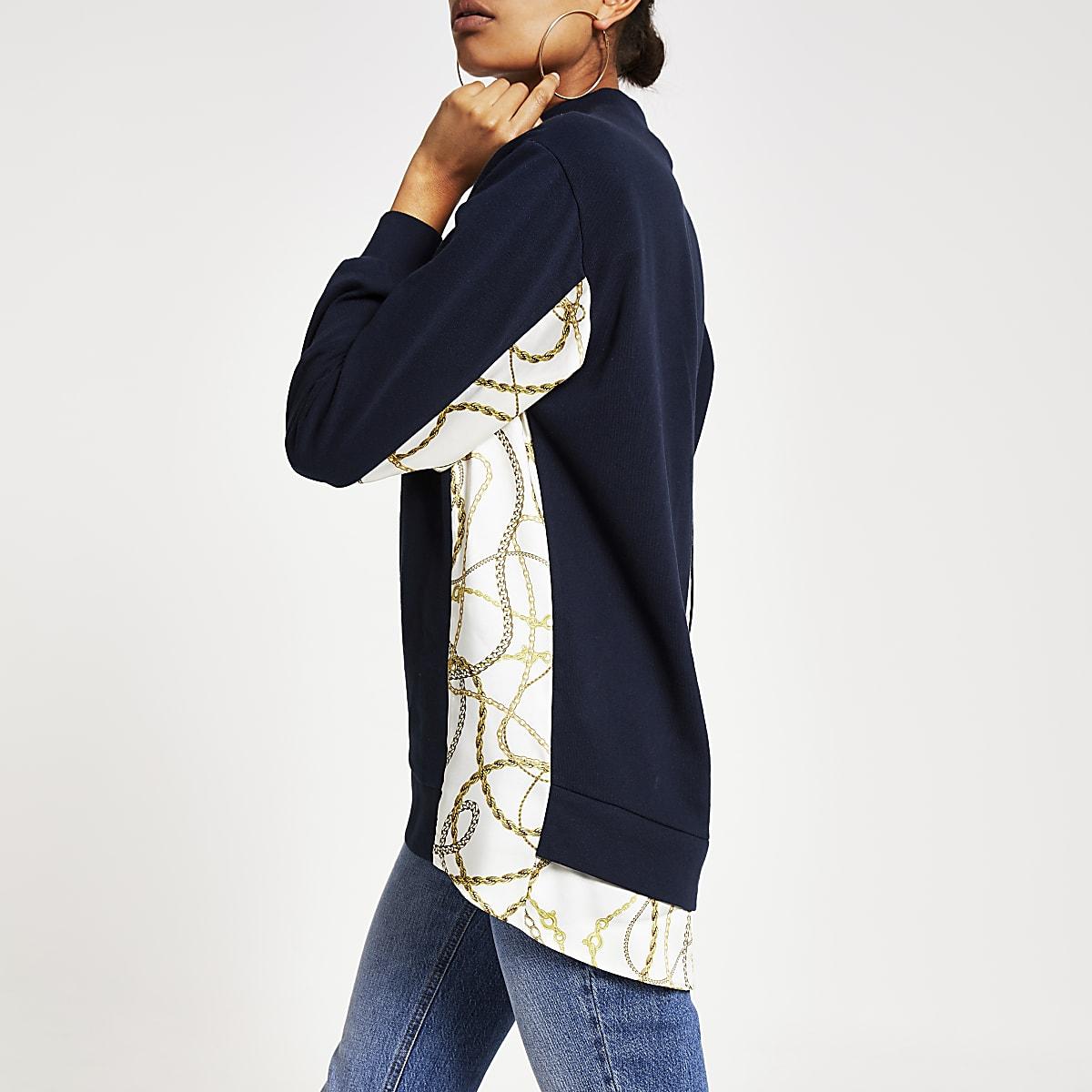 Navy high neck print sleeve sweatshirt
