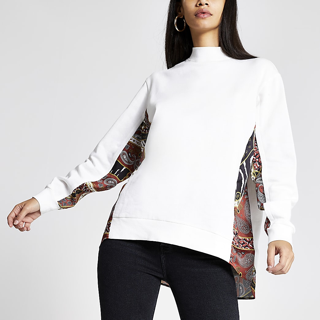 White block printed high neck sweatshirt