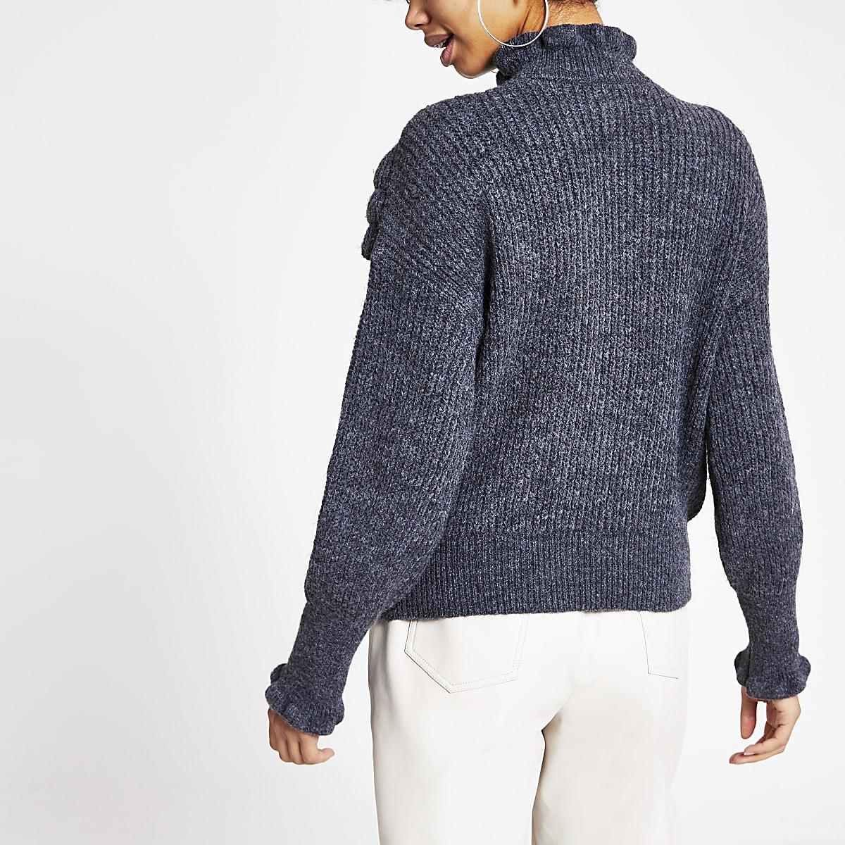 Grey ruffle frill knitted jumper