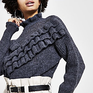 Grey ruffle frill knitted jumper