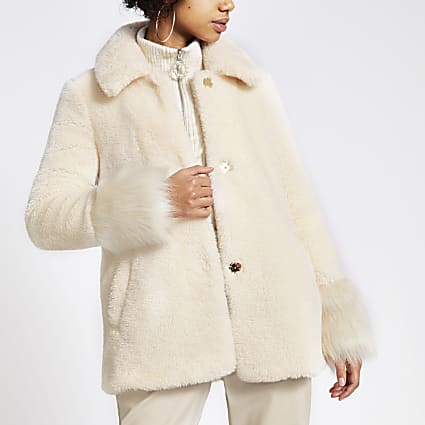 Cream faux fur long sleeve coat