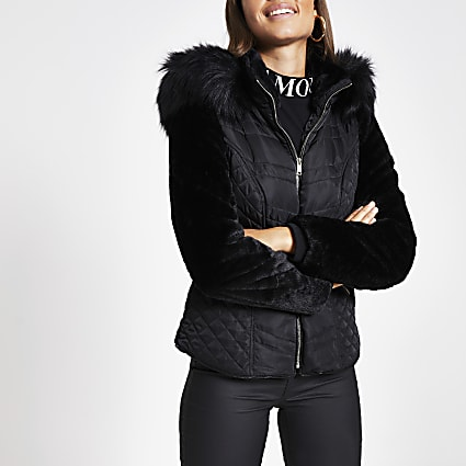 Black faux fur sleeve padded jacket