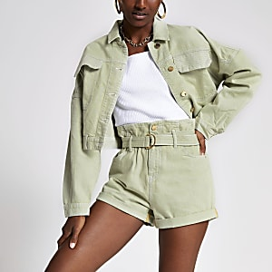 Light green Mom paperbag belted shorts