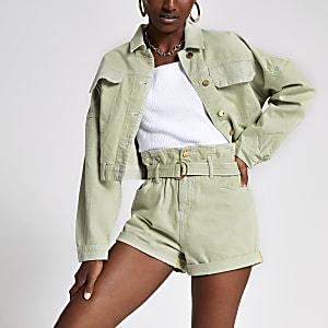Light green Mom paperbag belted shorts