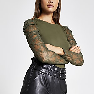 Khaki lace long puff sleeve T-shirt