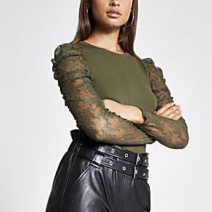 T-shirt kaki à manches longues bouffantes transparentes en dentelle