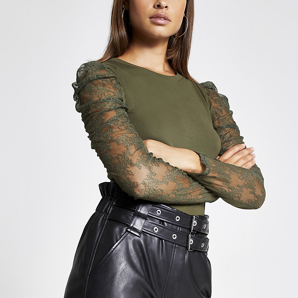 Khaki lace long sheer puff sleeve T-shirt