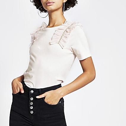 Pink diamante mesh ruffle T-shirt