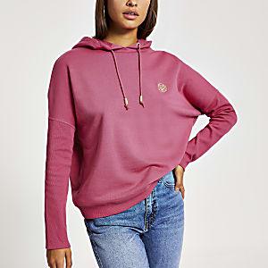 Roze hoodie met vleermuismouwen