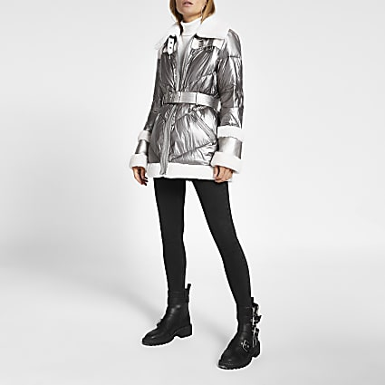 Silver metallic belted aviator padded coat