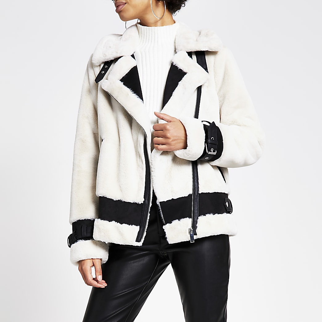Cream faux fur aviator jacket