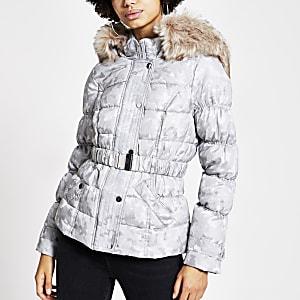 Grey camo jacquard belted padded jacket