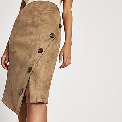 Tan faux suede wrap button midi pencil skirt