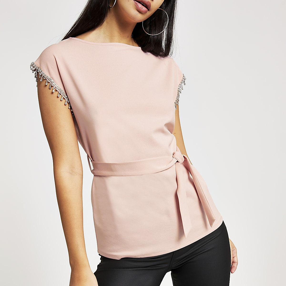 Pink diamante short sleeve tie belted top