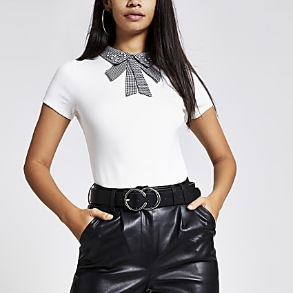 White houndstooth embellished collar tee