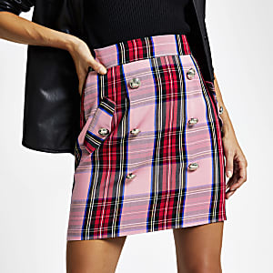 Pink check button front mini skirt