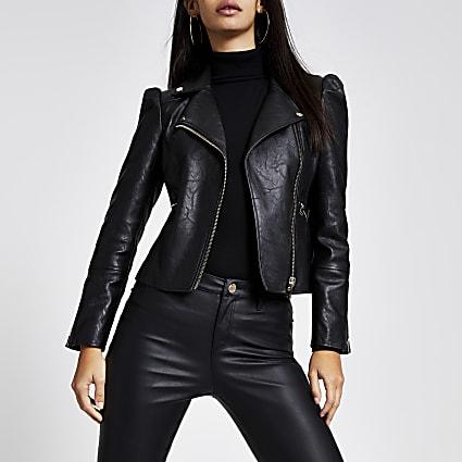 Black faux leather puff sleeve biker jacket