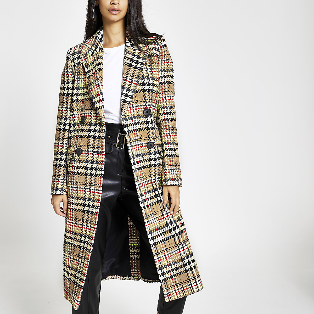 Brown check double-breasted longline coat