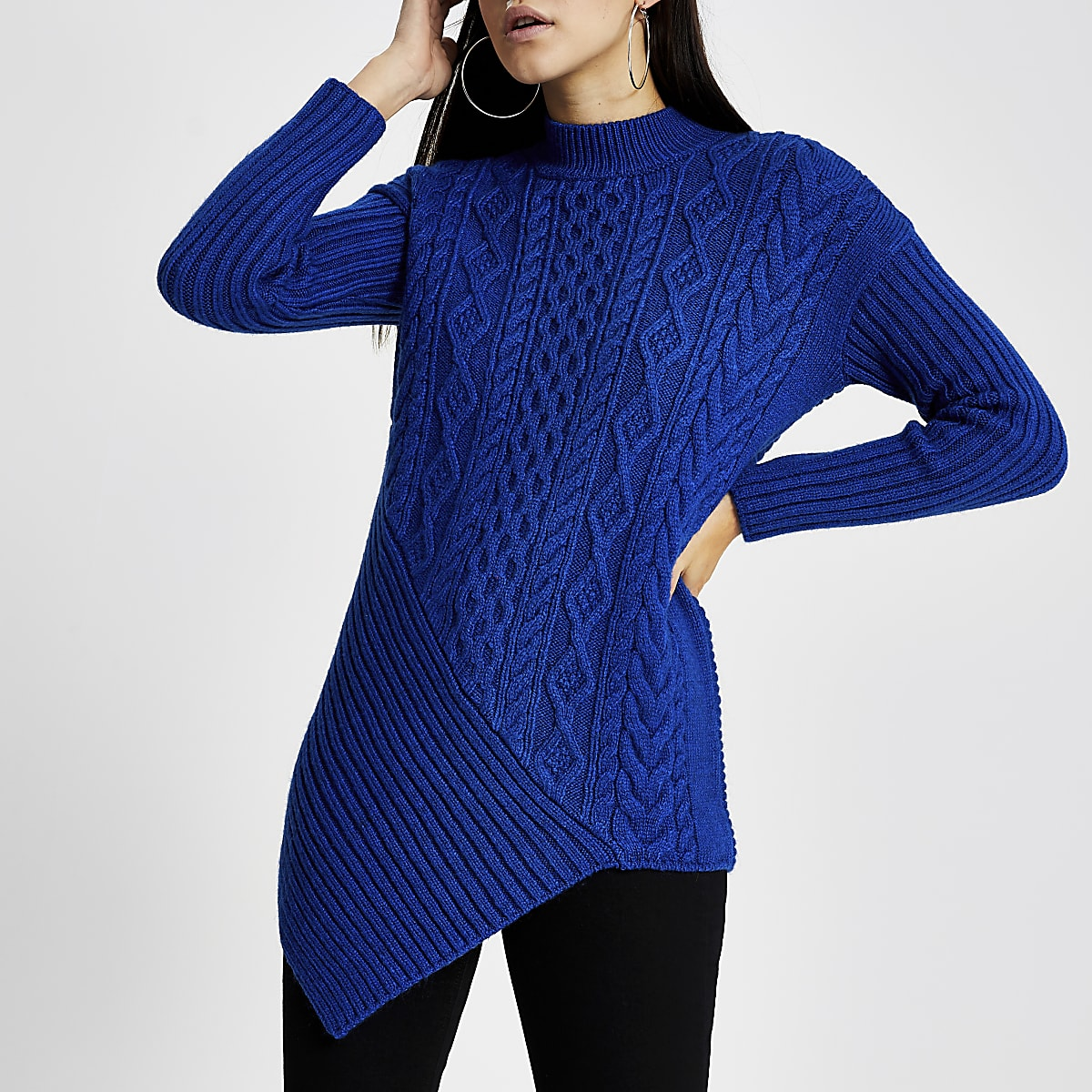 Bright blue long sleeve cable knitted jumper
